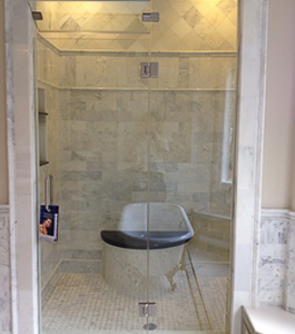 Frameless Shower Door With Inline Panels